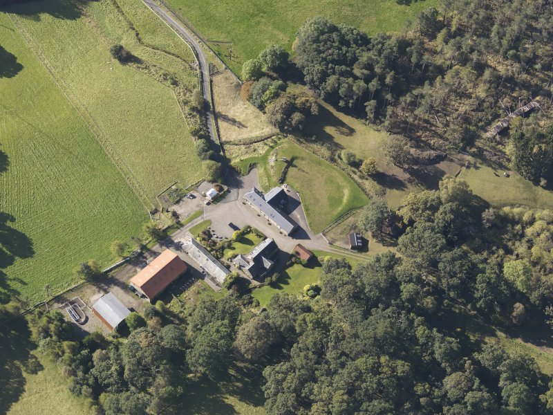 Oblique aerial view of Colliechat Castle, taken from the NE.