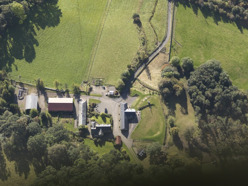 Oblique aerial view of Colliechat Castle, taken from the N.