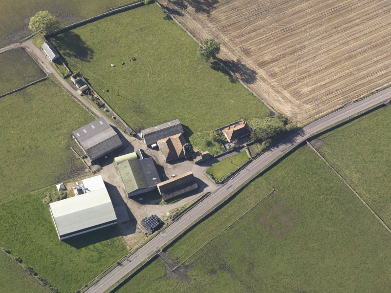 Oblique aerial view of Bordie Farm Tower, taken from the ENE.