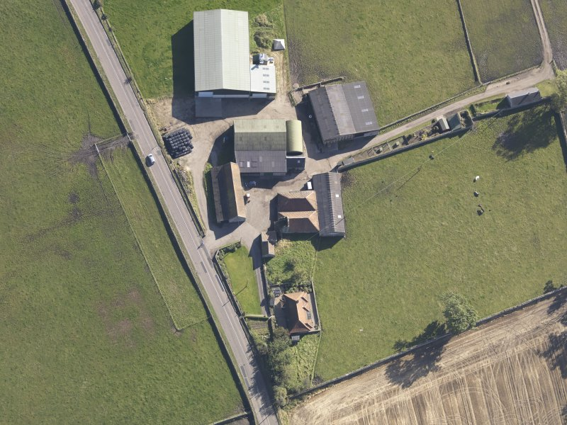 Oblique aerial view of Bordie Farm Tower, taken from the WNW.