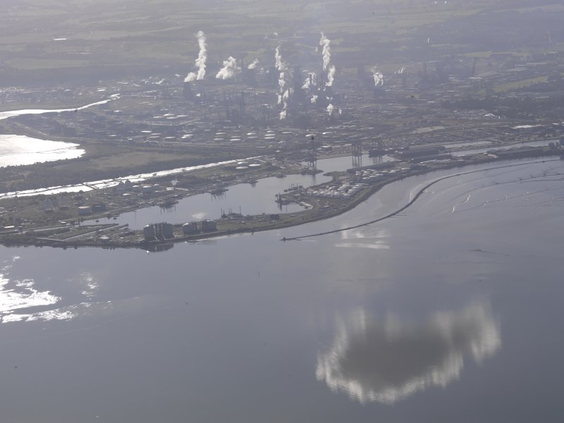 Oblique aerial view of Grangemouth Oil Refinery, taken from the N.