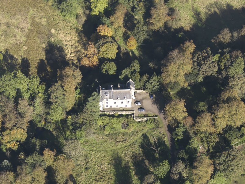Oblique aerial view of Bedlay Castle, taken from the S.