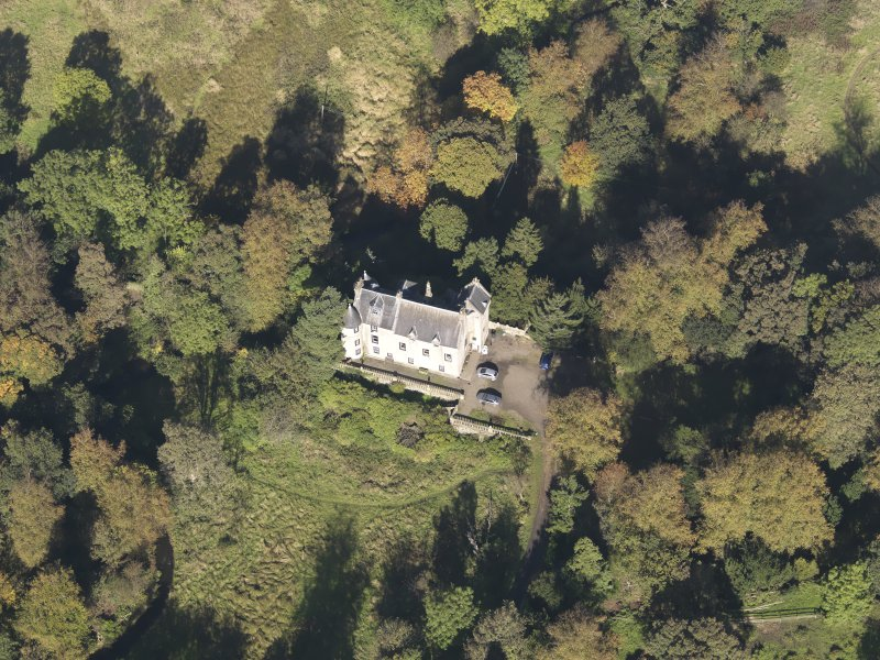 Oblique aerial view of Bedlay Castle, taken from the SSE.