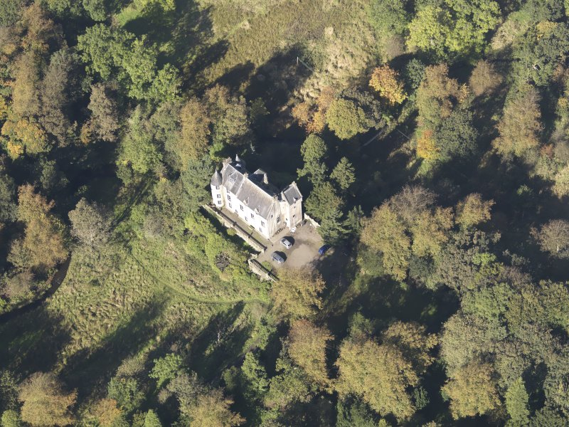 Oblique aerial view of Bedlay Castle, taken from the SE.