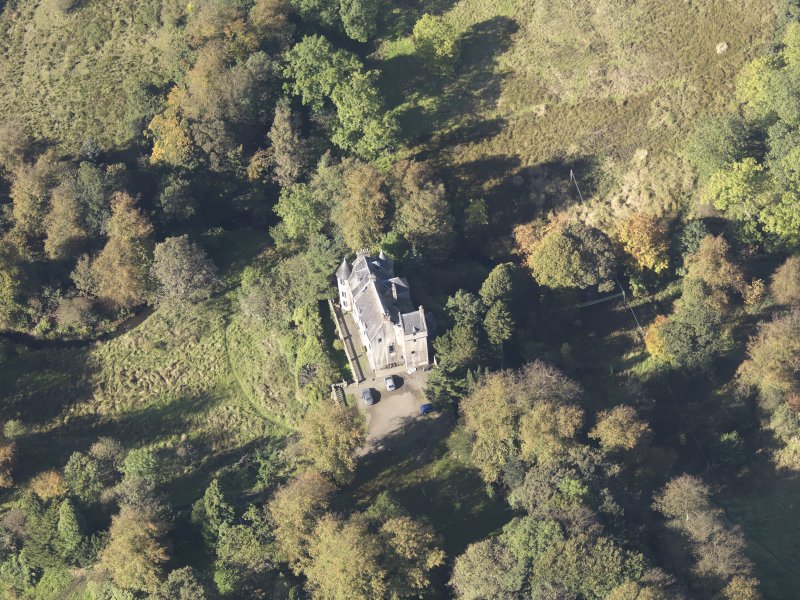 Oblique aerial view of Bedlay Castle, taken from the ESE.