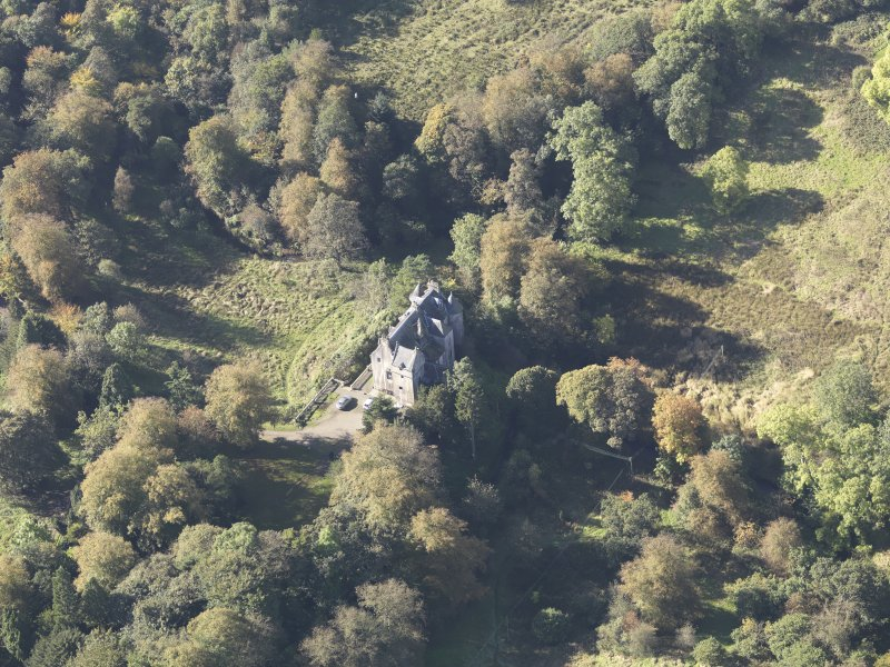 Oblique aerial view of Bedlay Castle, taken from the E.