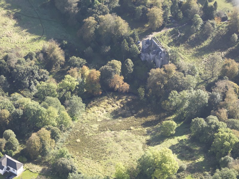 Oblique aerial view of Bedlay Castle, taken from the NNW.