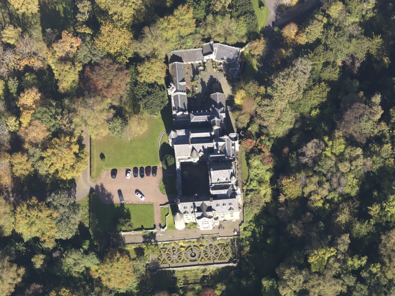 Oblique aerial view of Dalzell House, taken from the SSW.