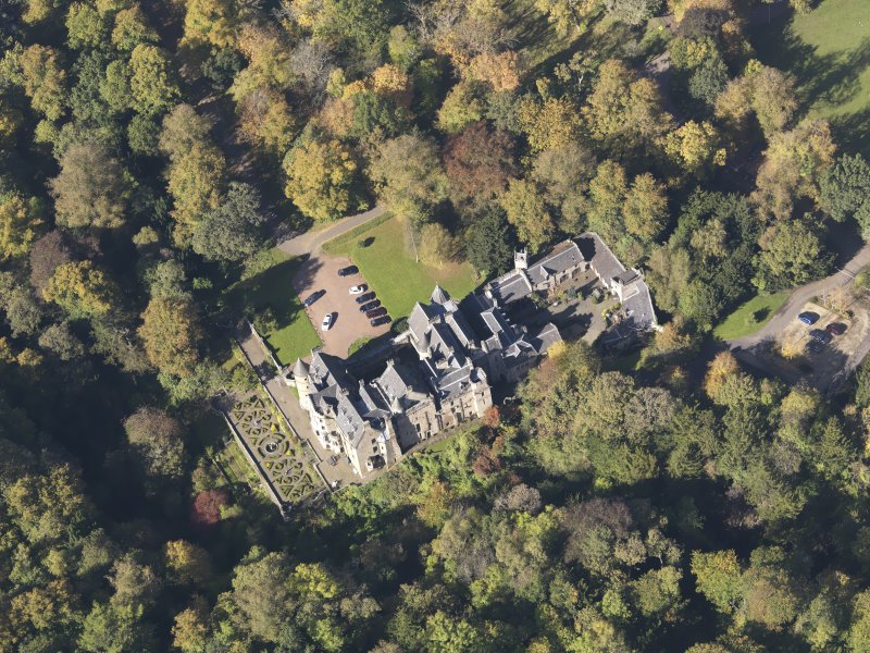 Oblique aerial view of Dalzell House, taken from the SE.