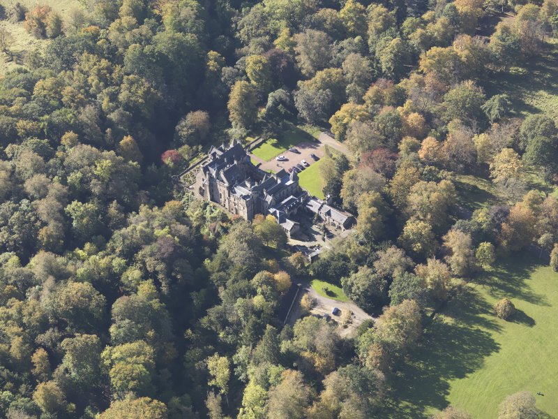 Oblique aerial view of Dalzell House, taken from the NE.