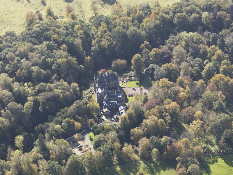 Oblique aerial view of Dalzell House, taken from the NNE.