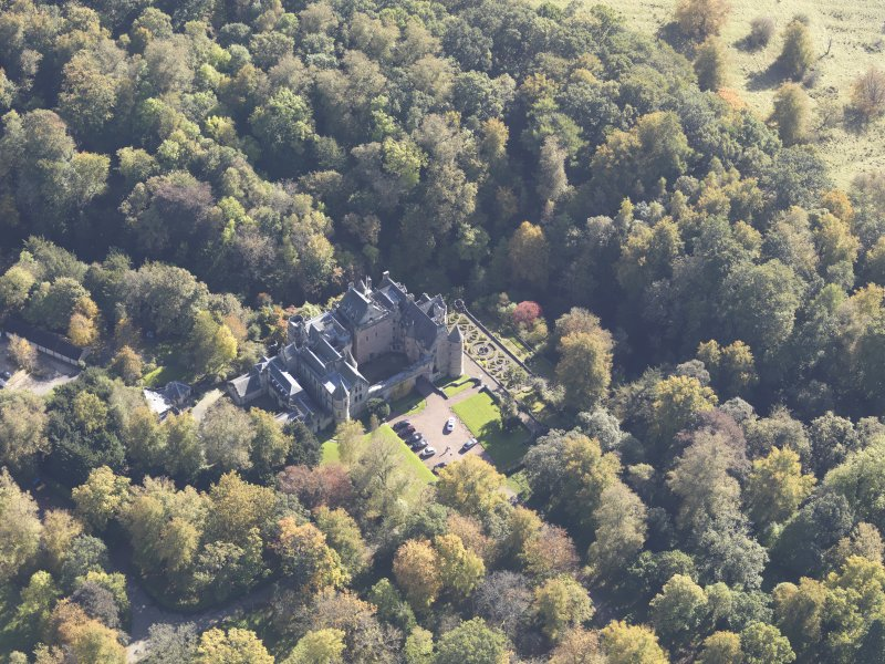 Oblique aerial view of Dalzell House, taken from the NW.
