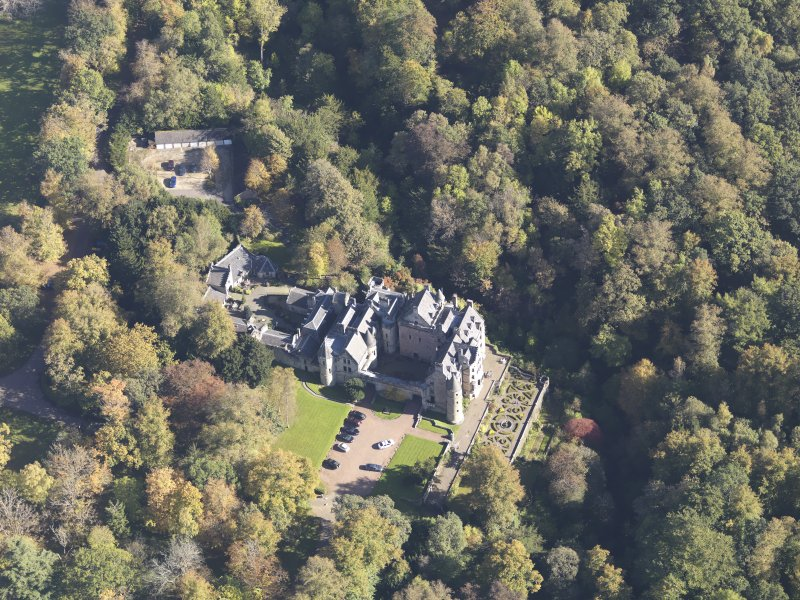 Oblique aerial view of Dalzell House, taken from the WSW.