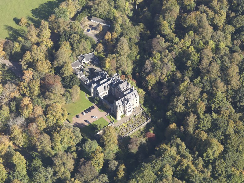 Oblique aerial view of Dalzell House, taken from the SW.