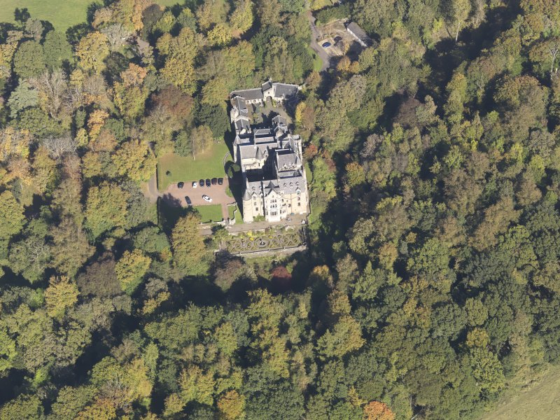 Oblique aerial view of Dalzell House, taken from the S.