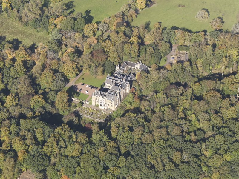 Oblique aerial view of Dalzell House, taken from the SSE.