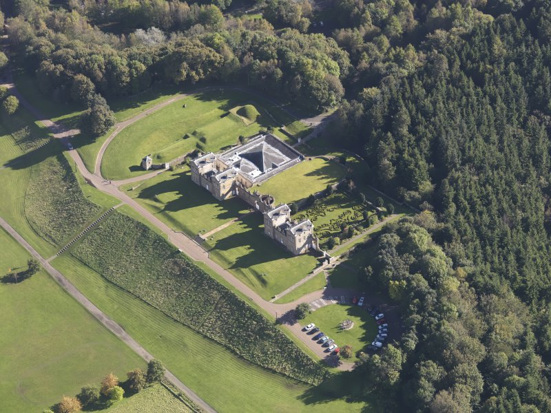 Oblique aerial view of Chatelherault Hunting Lodge, taken from the WNW.