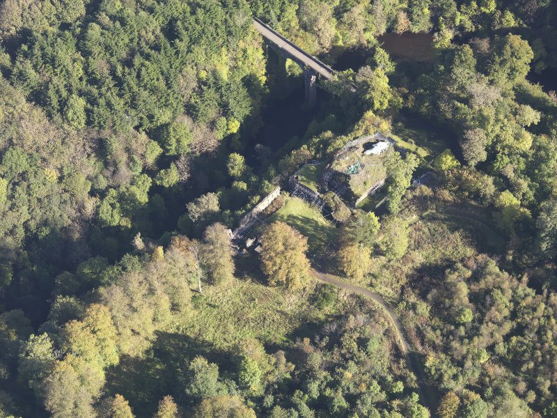Oblique aerial view of Cadzow Castle, taken from the WSW.