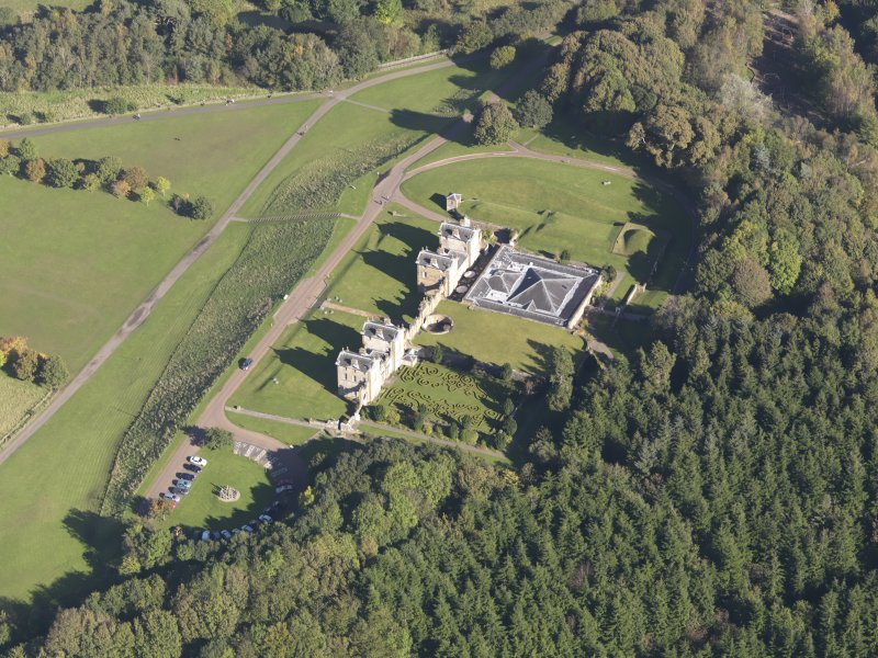 Oblique aerial view of Chatelherault Hunting Lodge, taken from the SW.
