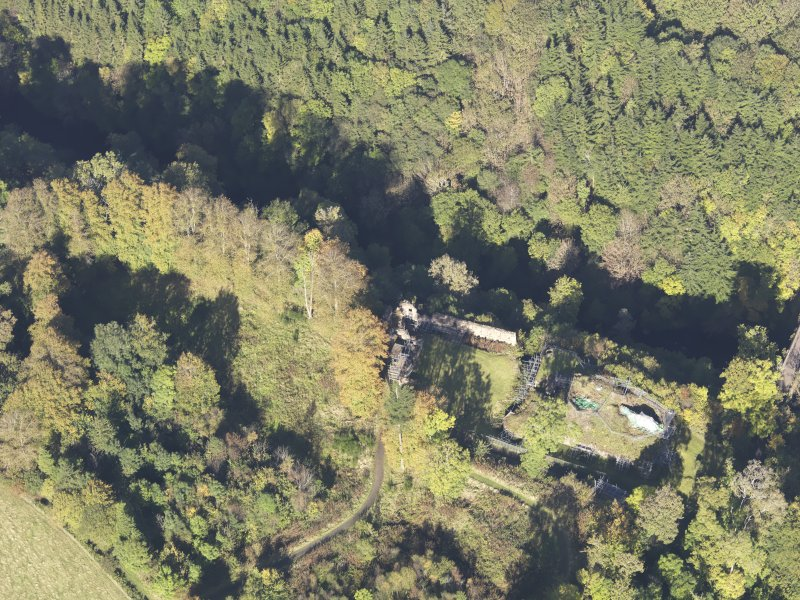 Oblique aerial view of Cadzow Castle, taken from the S.