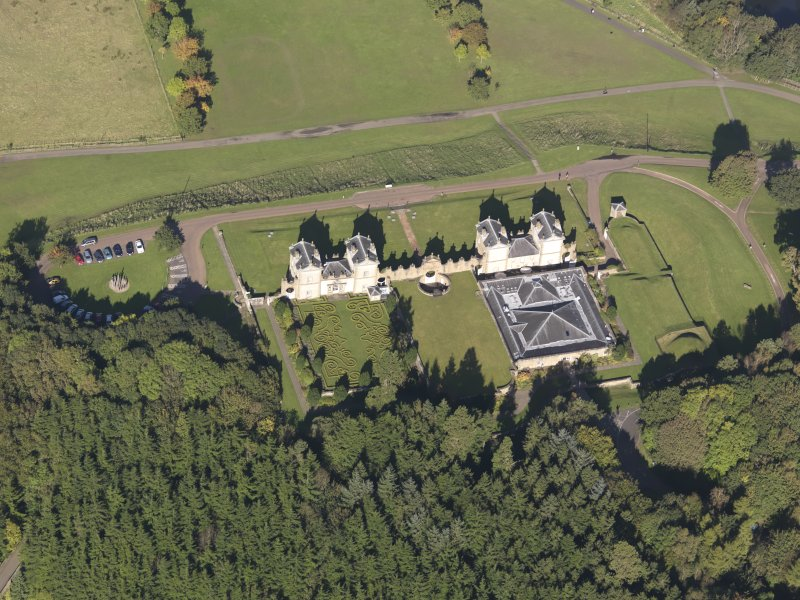 Oblique aerial view of Chatelherault Hunting Lodge, taken from the SSE.
