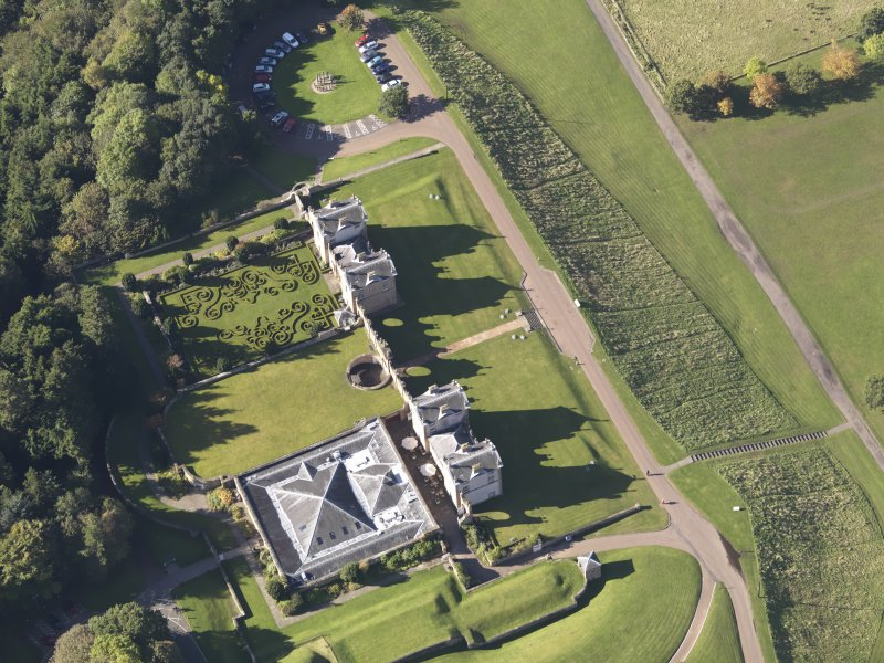 Oblique aerial view of Chatelherault Hunting Lodge, taken from the ENE.