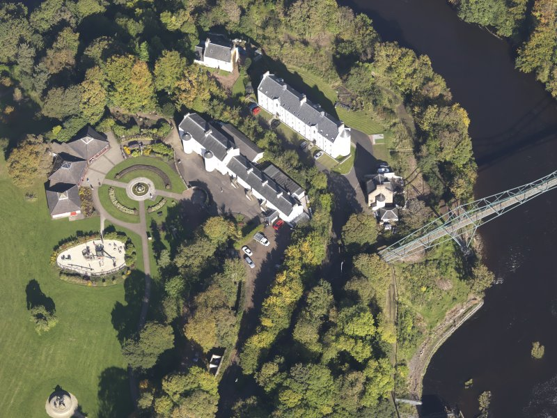 Oblique aerial view of David Livingstone Museum, taken from the S.