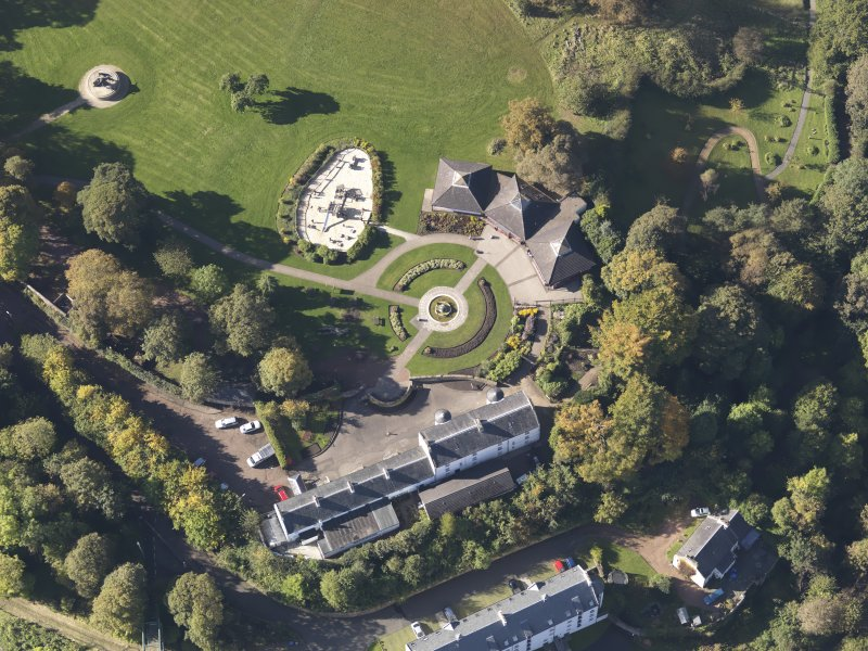 Oblique aerial view of David Livingstone Museum, taken from the E.