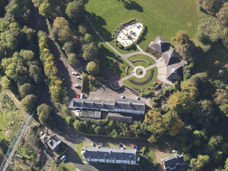 Oblique aerial view of David Livingstone Museum, taken from the NE.