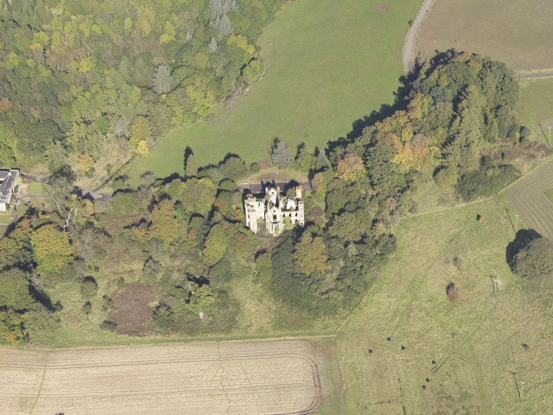 Oblique aerial view of Cambusnethan House, taken from the S.