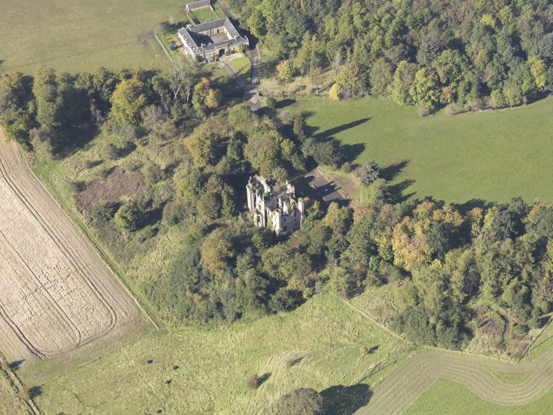 Oblique aerial view of Cambusnethan House, taken from the E.