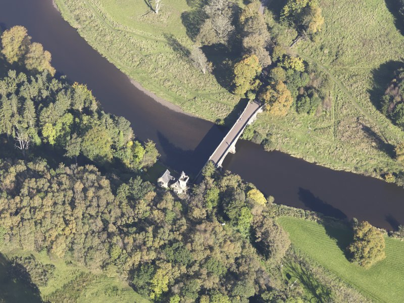 Oblique aerial view of Maudslie Bridge, taken from the SSW.
