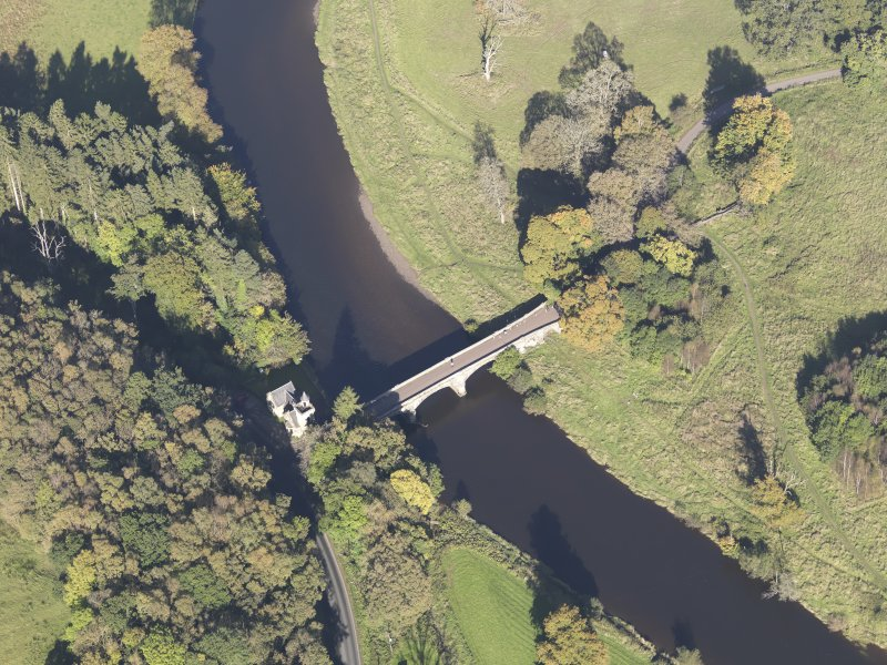 Oblique aerial view of Maudslie Bridge, taken from the S.