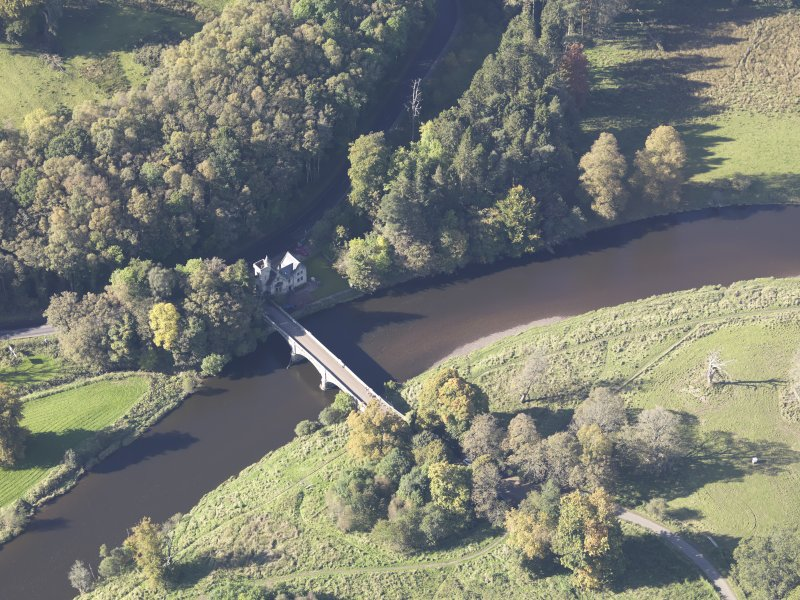 Oblique aerial view of Maudslie Bridge, taken from the ESE.