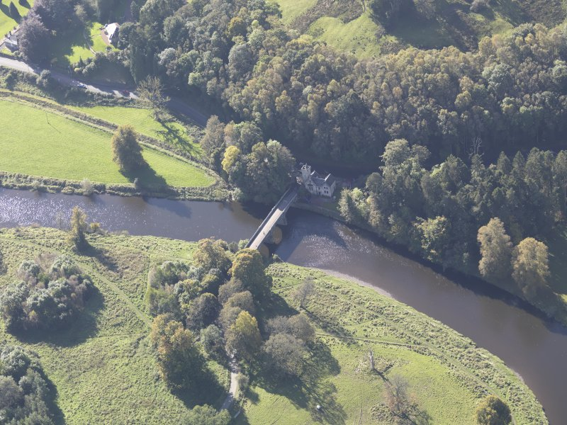 Oblique aerial view of Maudslie Bridge, taken from the NE.