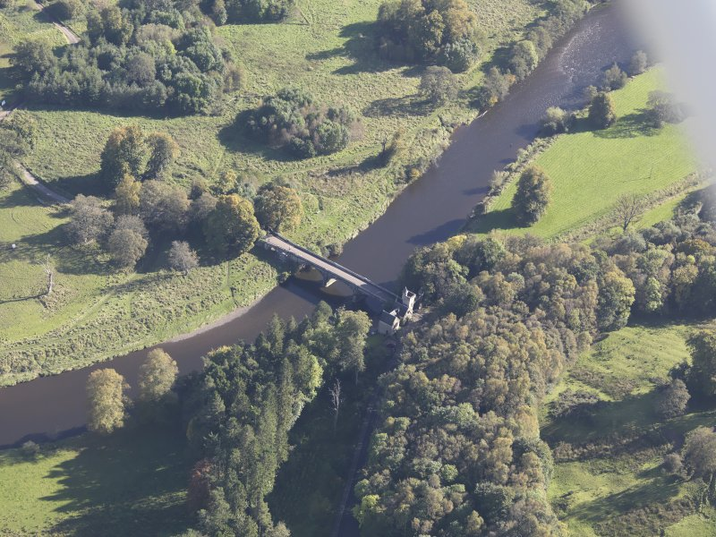 Oblique aerial view of Maudslie Bridge, taken from the WNW.