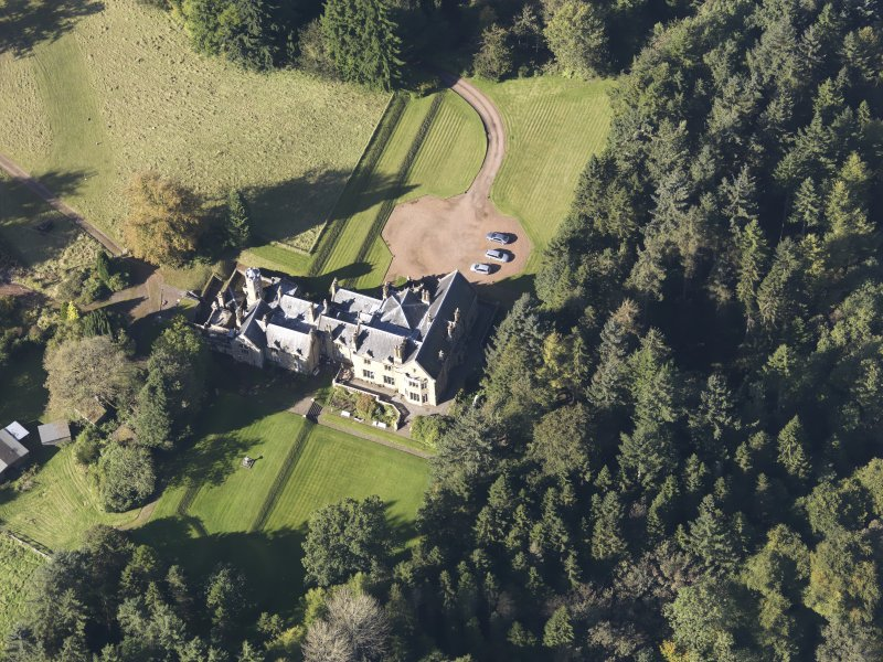 Oblique aerial view of Corehouse Country House, taken from the SE.