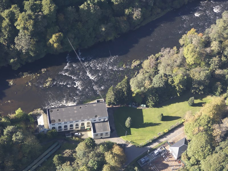Oblique aerial view of Bonnington hydroelectric power station, taken from the E.
