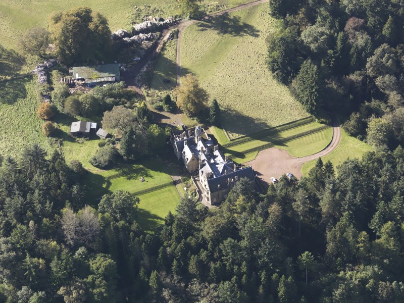 Oblique aerial view of Corehouse Country House, taken from the ENE.