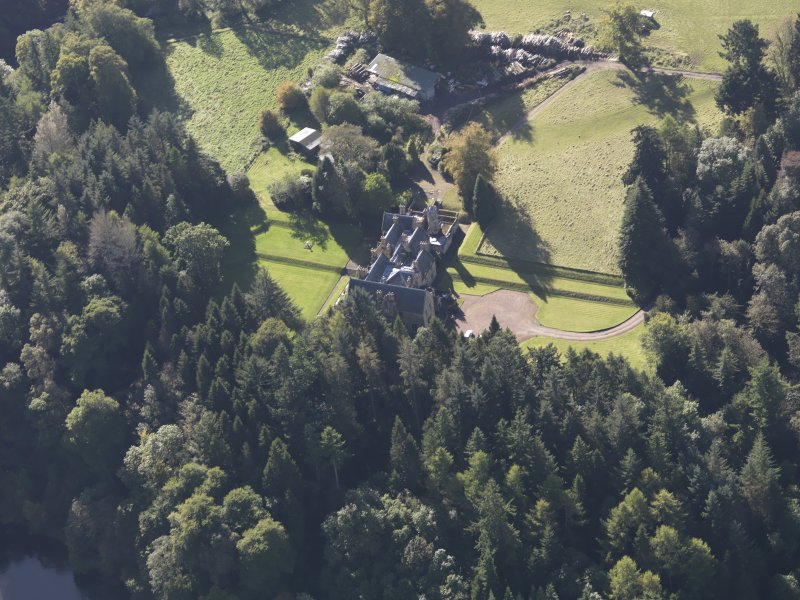 Oblique aerial view of Corehouse Country House, taken from the NE.