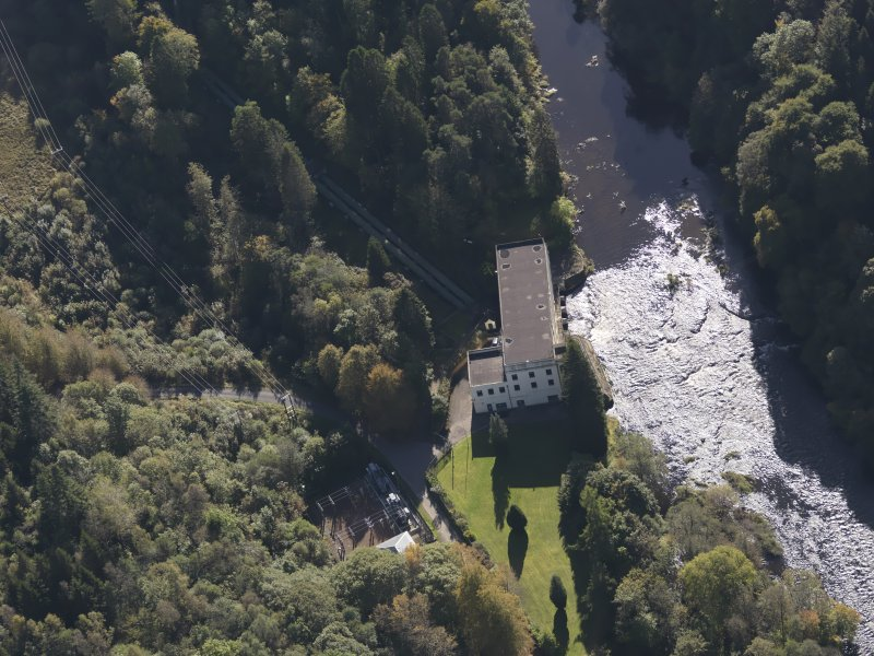 Oblique aerial view of Bonnington Hydro-Electric Power Station, taken from the N.