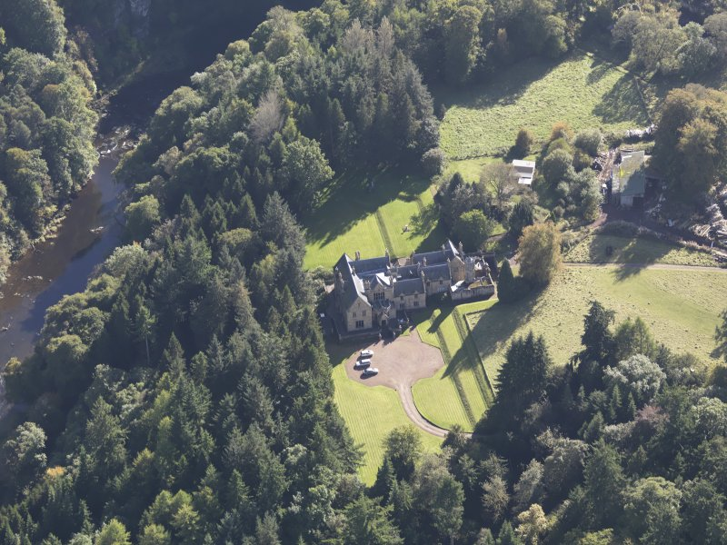 Oblique aerial view of Corehouse Country House, taken from the N.