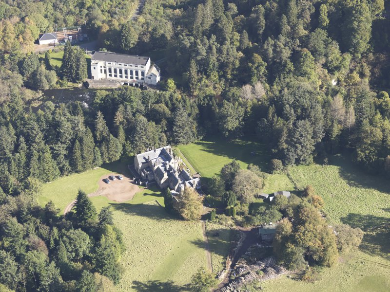 Oblique aerial view of Corehouse Country House, taken from the W.