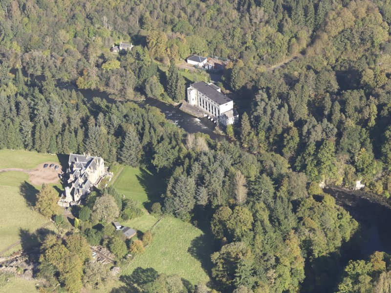Oblique aerial view of Corehouse Country House, taken from the SW.