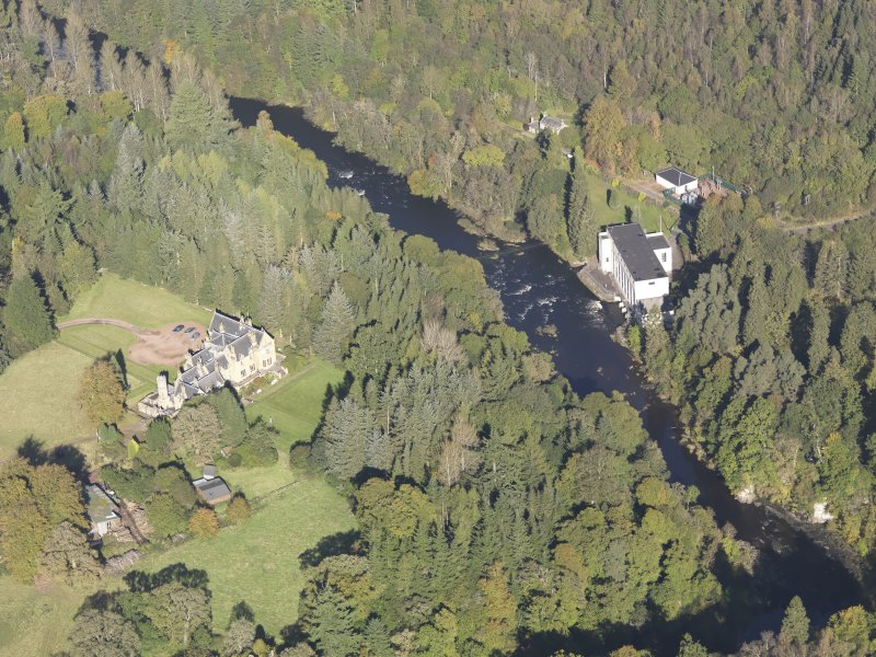 Oblique aerial view of Corehouse Country House, taken from the SSW.