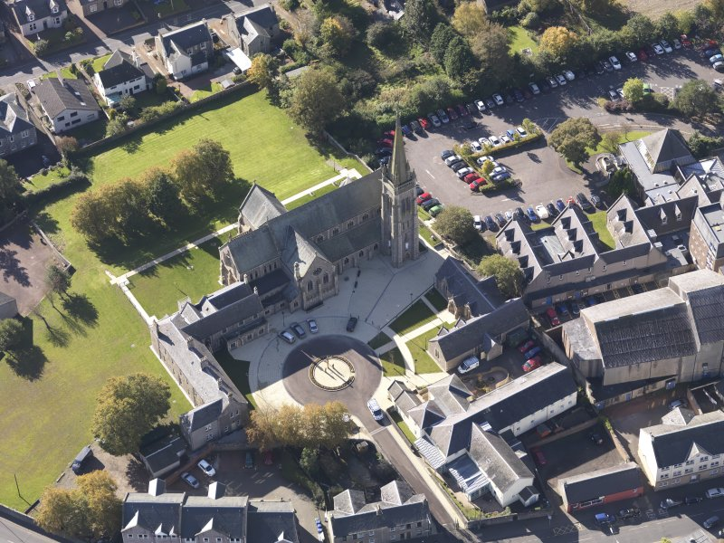 Oblique aerial view of St Mary's Roman Catholic Church Lanark, taken from the NE.