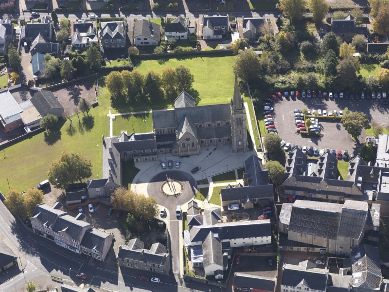 Oblique aerial view of St Mary's Roman Catholic Church Lanark, taken from the NNE.