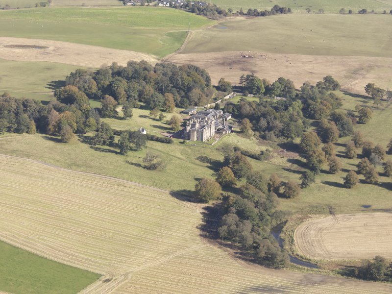 Oblique aerial view of Carstairs House, taken from the SW.