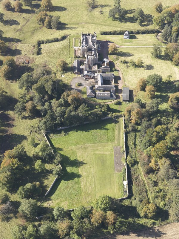 Oblique aerial view of Carstairs House, taken from the E.