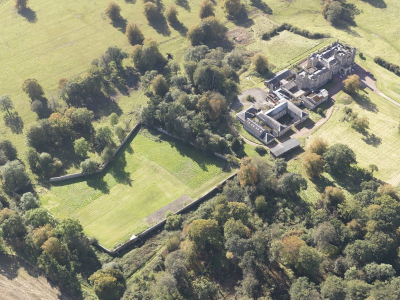 Oblique aerial view of Carstairs House, taken from the NE.